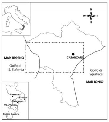 Localizzazione della stretta di Catanzaro