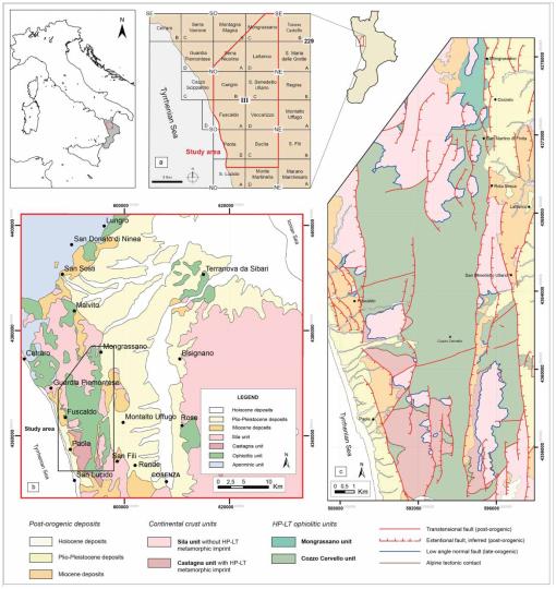 Carta geologica della fascia di Catena Costiera