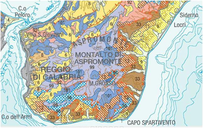 Fig.1: Schema geologico del Massiccio dell'Aspromonte (ISPRA,2011)