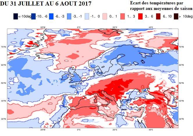scarto previsto delle temperature